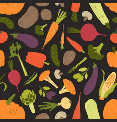 seamless pattern with fresh tasty vegetables and vector image