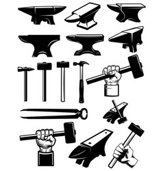set blacksmith design elements anvil hammers vector image