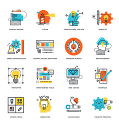 set flat line design icons vector image