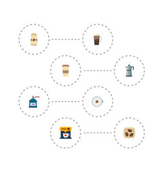 Set of drink icons flat style symbols with vector