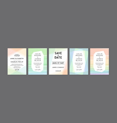 set of modern colorful wedding invitations vector image