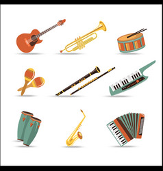 Set of music instruments Flat style design vector image vector image