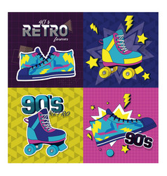 set of retro pop cards vector image