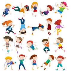 set of urban children character vector image