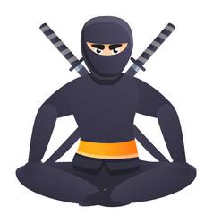 Sitting ninja icon cartoon style vector