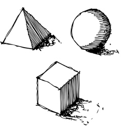 sketch drawing of geometry vector image