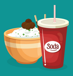 soda with rice fast food menu vector image