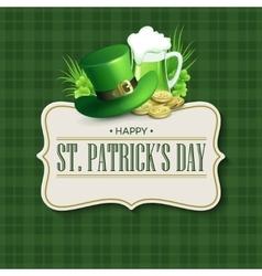 St Patricks Day vintage holiday badge design vector image
