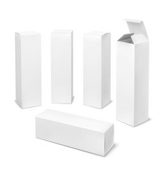 Tall white box cardboard cosmetic boxes vector