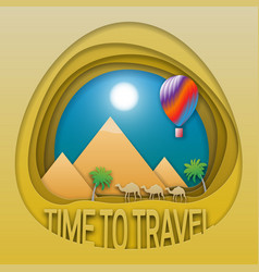 time to travel emblem template pyramids camels vector image