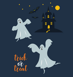 trick or treat cute dancing ghostes vector image