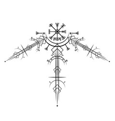 Vegvisir magic navigation compass ancient sign vector