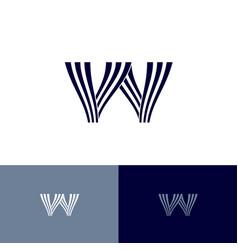 w letter monogram lines wave water symbol vector image