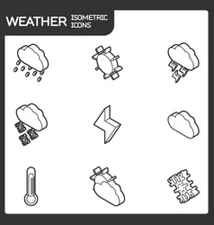 weather outline isometric icons vector image