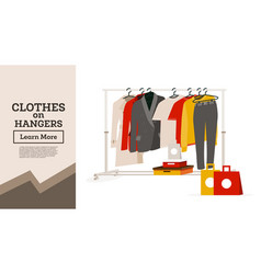 womans clothes hanging on hangers gift boxes vector image