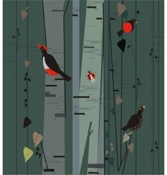birch grove with birds vector image