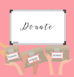 Donation fundraiser hands holding box charity vector