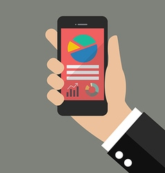 Hand holding smart phone with analyzing graph vector image
