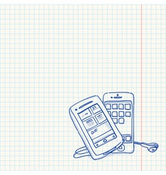 Mobile Phone Sketch vector image vector image