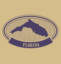 Oval stamp with Florida state silhouette - FL vector image