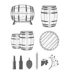 Set Barrels and Design Elements vector image vector image