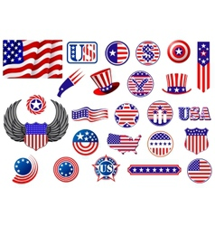 American patriotic badges symbols and labels vector image