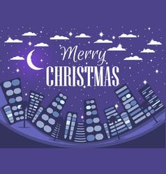 happy christmas winter cityscape festive night vector image