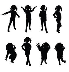kids silhouette black vector image vector image