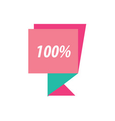 Label hundred percent pink and green vector