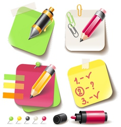 Note paper post with pencil vector image