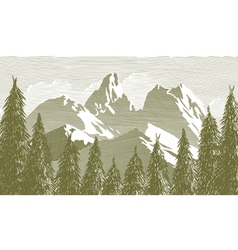 Woodcut Tree And Mountainscape vector image vector image