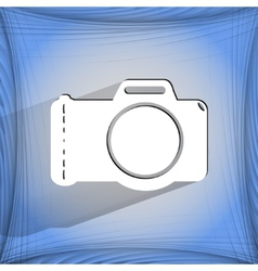 Photo camera Flat modern web button on a flat vector image vector image