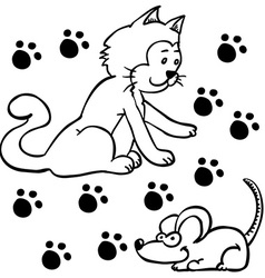 simple black and white cat and mouse vector image vector image