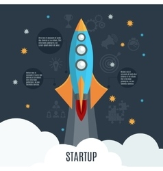 Business startup rocket launch flat poster vector image vector image