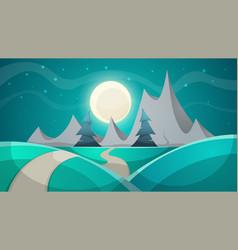 cartoon night landscape fir mountain vector image