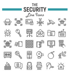 security line icon set cyber protection signs vector image vector image