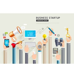 Set of business hands services vector image vector image
