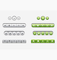 set of interface navigation buttons media buttons vector image