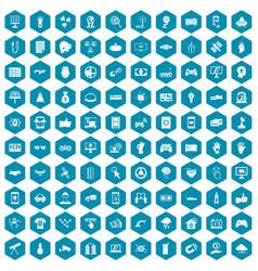 100 hi-tech icons sapphirine violet vector image
