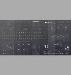 A set hud calendars elements for a futuristic vector