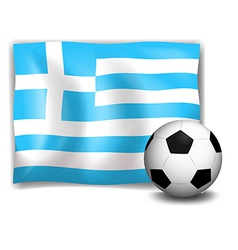A soccer ball with the flag of Greece vector