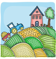 Agricultural fields house on hill vector