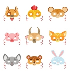 Animal paper masks set of items vector