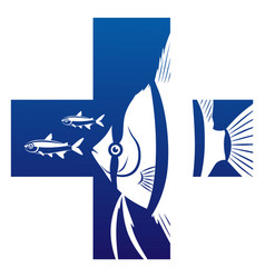 aquarium fish health care symbol vector image