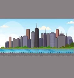 asphalt highway road over beautiful river city vector image