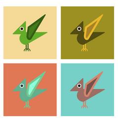 Assembly flat icons cartoon dinosaur vector