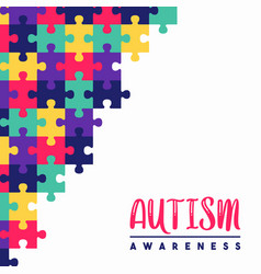 Autism awareness day colorful puzzle game card vector