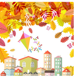 Autumn scene with falling leaves and abstract vector
