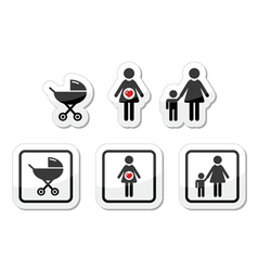 Baby icons set - parm pregnancy mother vector