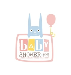 Bashower invitation design template with rabbit vector